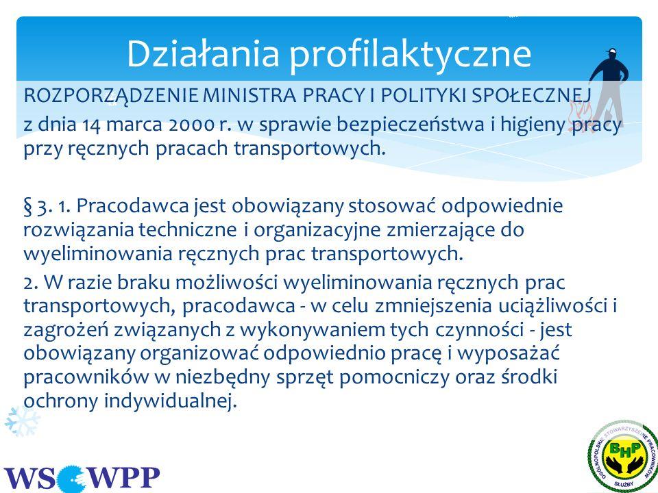 WS WPP ROZPORZĄDZENIE MINISTRA PRACY I POLITYKI SPOŁECZNEJ z dnia 14 marca 2000 r. w sprawie bezpieczeństwa i higieny pracy przy ręcznych pracach tran