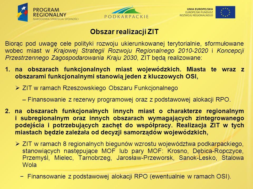 Obszar realizacji ZIT Biorąc pod uwagę cele polityki rozwoju ukierunkowanej terytorialnie, sformułowane wobec miast w Krajowej Strategii Rozwoju Regionalnego 2010-2020 i Koncepcji Przestrzennego Zagospodarowania Kraju 2030, ZIT będą realizowane: 1.na obszarach funkcjonalnych miast wojewódzkich.