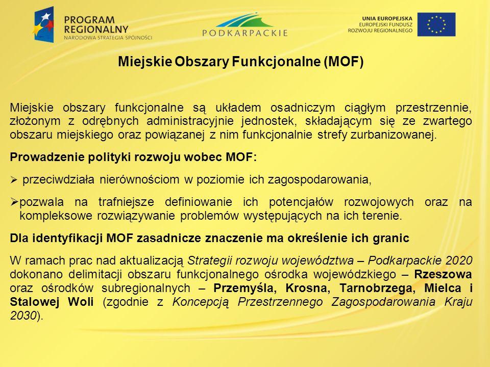 Miejskie Obszary Funkcjonalne (MOF) Miejskie obszary funkcjonalne są układem osadniczym ciągłym przestrzennie, złożonym z odrębnych administracyjnie jednostek, składającym się ze zwartego obszaru miejskiego oraz powiązanej z nim funkcjonalnie strefy zurbanizowanej.