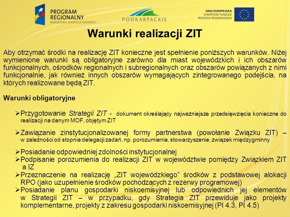 Warunki realizacji ZIT Aby otrzymać środki na realizację ZIT konieczne jest spełnienie poniższych warunków.