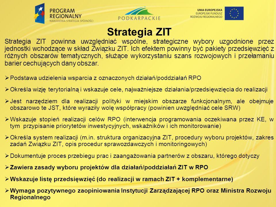 Strategia ZIT Strategia ZIT powinna uwzględniać wspólne, strategiczne wybory uzgodnione przez jednostki wchodzące w skład Związku ZIT.