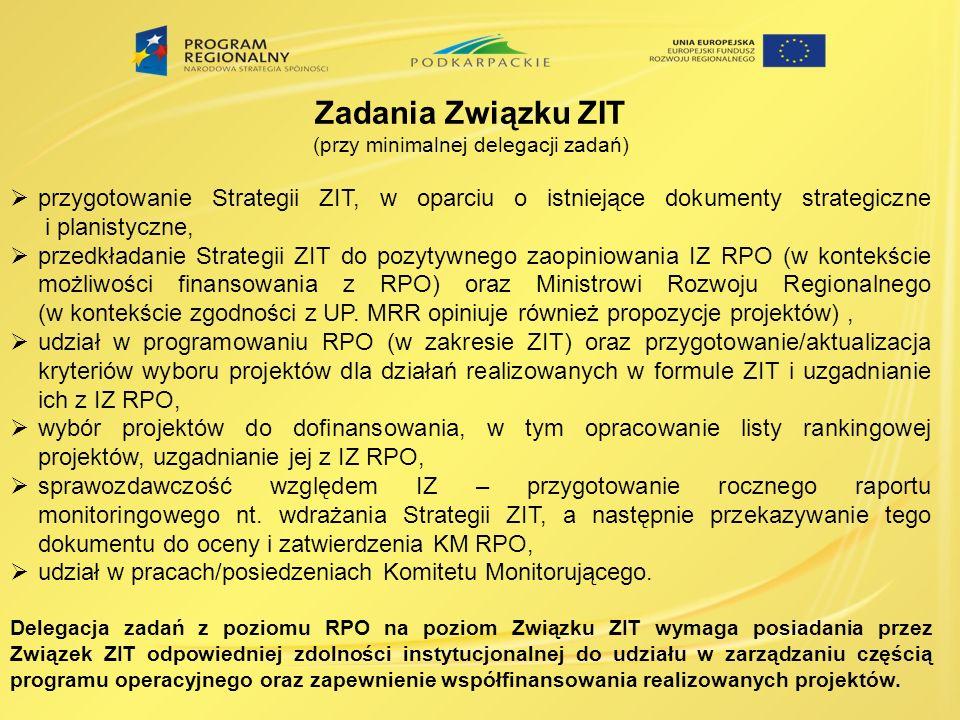 Zadania Związku ZIT (przy minimalnej delegacji zadań) przygotowanie Strategii ZIT, w oparciu o istniejące dokumenty strategiczne i planistyczne, przedkładanie Strategii ZIT do pozytywnego zaopiniowania IZ RPO (w kontekście możliwości finansowania z RPO) oraz Ministrowi Rozwoju Regionalnego (w kontekście zgodności z UP.