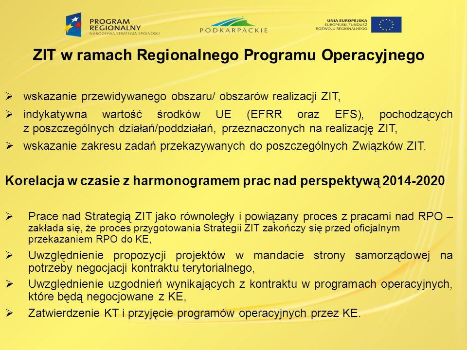 ZIT w ramach Regionalnego Programu Operacyjnego wskazanie przewidywanego obszaru/ obszarów realizacji ZIT, indykatywna wartość środków UE (EFRR oraz EFS), pochodzących z poszczególnych działań/poddziałań, przeznaczonych na realizację ZIT, wskazanie zakresu zadań przekazywanych do poszczególnych Związków ZIT.