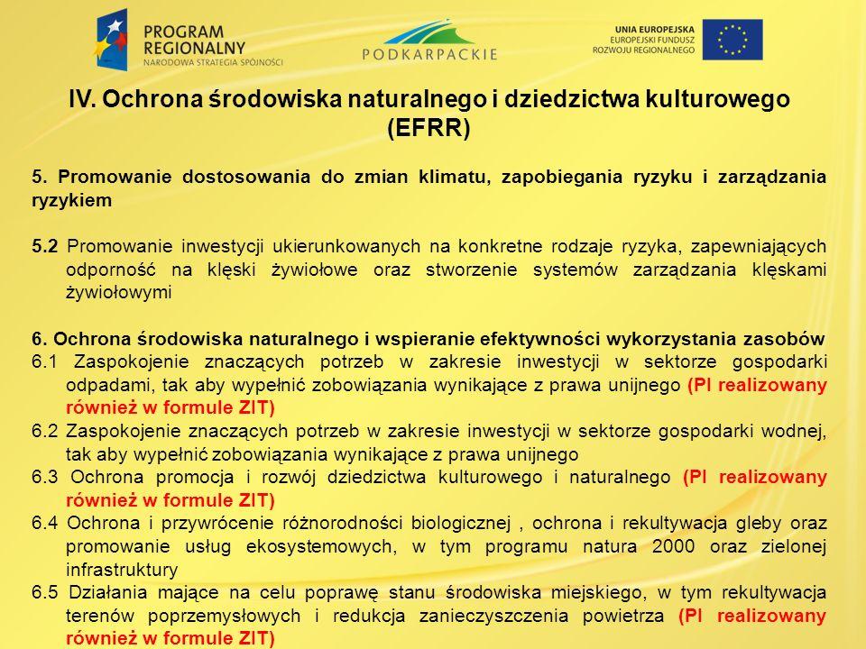IV.Ochrona środowiska naturalnego i dziedzictwa kulturowego (EFRR) 5.