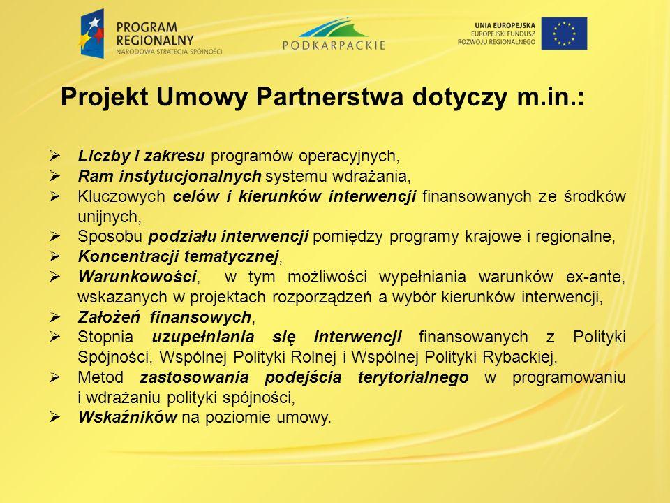 Projekt Umowy Partnerstwa dotyczy m.in.: Liczby i zakresu programów operacyjnych, Ram instytucjonalnych systemu wdrażania, Kluczowych celów i kierunków interwencji finansowanych ze środków unijnych, Sposobu podziału interwencji pomiędzy programy krajowe i regionalne, Koncentracji tematycznej, Warunkowości, w tym możliwości wypełniania warunków ex-ante, wskazanych w projektach rozporządzeń a wybór kierunków interwencji, Założeń finansowych, Stopnia uzupełniania się interwencji finansowanych z Polityki Spójności, Wspólnej Polityki Rolnej i Wspólnej Polityki Rybackiej, Metod zastosowania podejścia terytorialnego w programowaniu i wdrażaniu polityki spójności, Wskaźników na poziomie umowy.