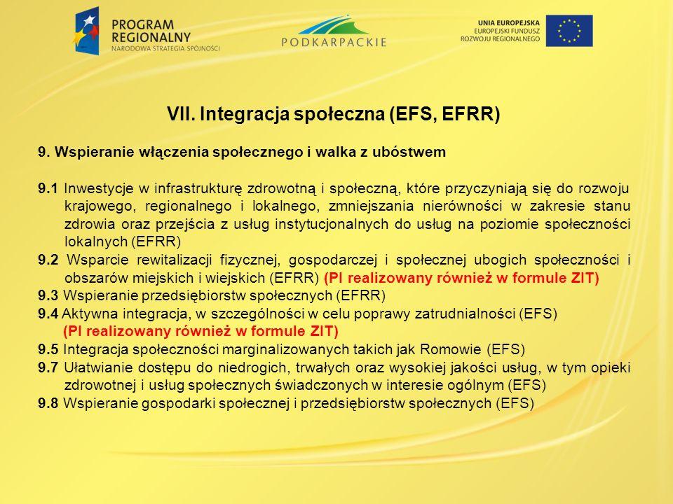 VII.Integracja społeczna (EFS, EFRR) 9.