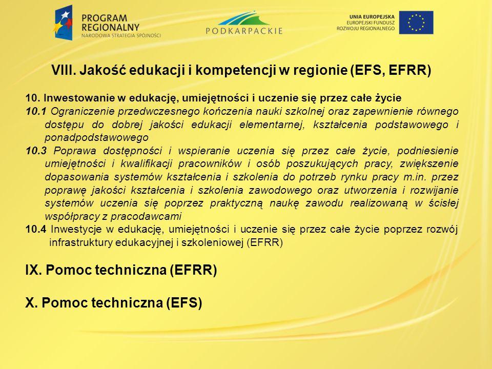 VIII.Jakość edukacji i kompetencji w regionie (EFS, EFRR) 10.