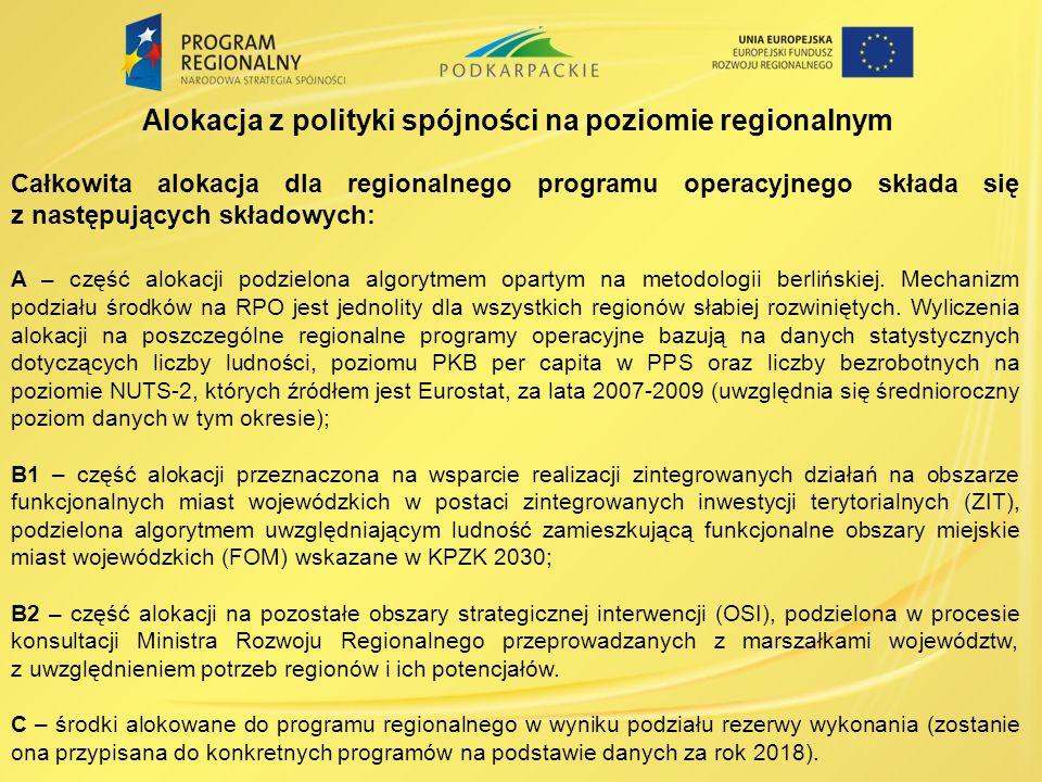 Alokacja z polityki spójności na poziomie regionalnym Całkowita alokacja dla regionalnego programu operacyjnego składa się z następujących składowych: A – część alokacji podzielona algorytmem opartym na metodologii berlińskiej.