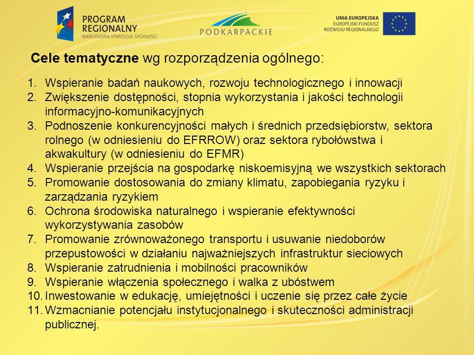 1.Wspieranie badań naukowych, rozwoju technologicznego i innowacji 2.Zwiększenie dostępności, stopnia wykorzystania i jakości technologii informacyjno-komunikacyjnych 3.Podnoszenie konkurencyjności małych i średnich przedsiębiorstw, sektora rolnego (w odniesieniu do EFRROW) oraz sektora rybołówstwa i akwakultury (w odniesieniu do EFMR) 4.Wspieranie przejścia na gospodarkę niskoemisyjną we wszystkich sektorach 5.Promowanie dostosowania do zmiany klimatu, zapobiegania ryzyku i zarządzania ryzykiem 6.Ochrona środowiska naturalnego i wspieranie efektywności wykorzystywania zasobów 7.Promowanie zrównoważonego transportu i usuwanie niedoborów przepustowości w działaniu najważniejszych infrastruktur sieciowych 8.Wspieranie zatrudnienia i mobilności pracowników 9.Wspieranie włączenia społecznego i walka z ubóstwem 10.Inwestowanie w edukację, umiejętności i uczenie się przez całe życie 11.Wzmacnianie potencjału instytucjonalnego i skuteczności administracji publicznej.