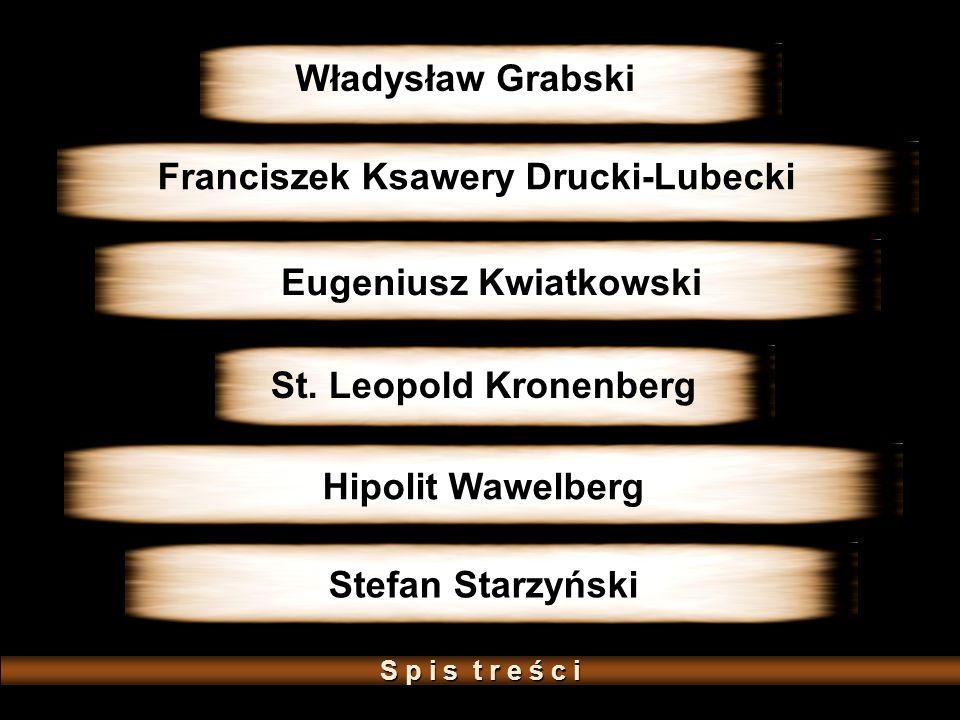 St. Leopold Kronenberg Władysław Grabski Eugeniusz Kwiatkowski Franciszek Ksawery Drucki-Lubecki Hipolit Wawelberg Stefan Starzyński S p i s t r e ś c