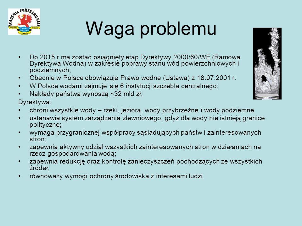 Waga problemu Do 2015 r ma zostać osiągnięty etap Dyrektywy 2000/60/WE (Ramowa Dyrektywa Wodna) w zakresie poprawy stanu wód powierzchniowych i podzie