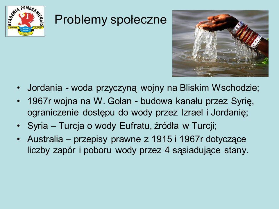 Problemy społeczne Jordania - woda przyczyną wojny na Bliskim Wschodzie; 1967r wojna na W. Golan - budowa kanału przez Syrię, ograniczenie dostępu do