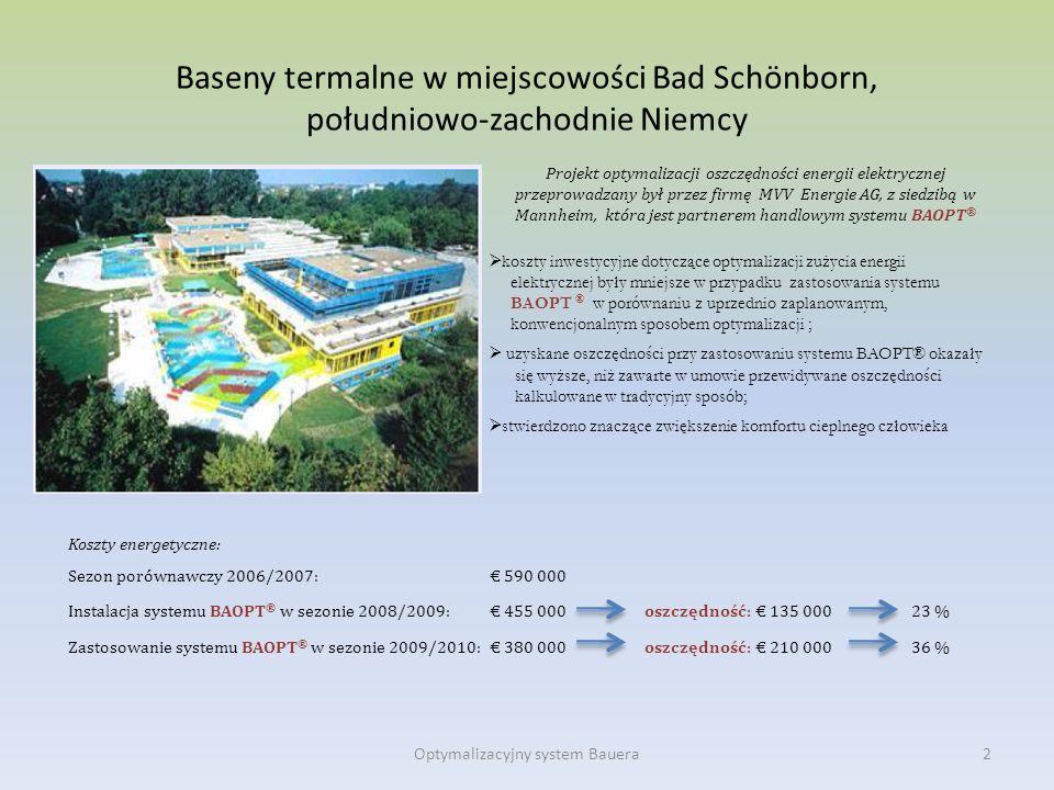 Baseny termalne w miejscowości Bad Schönborn, południowo-zachodnie Niemcy Koszty energetyczne: Sezon porównawczy 2006/2007: 590 000 Instalacja systemu
