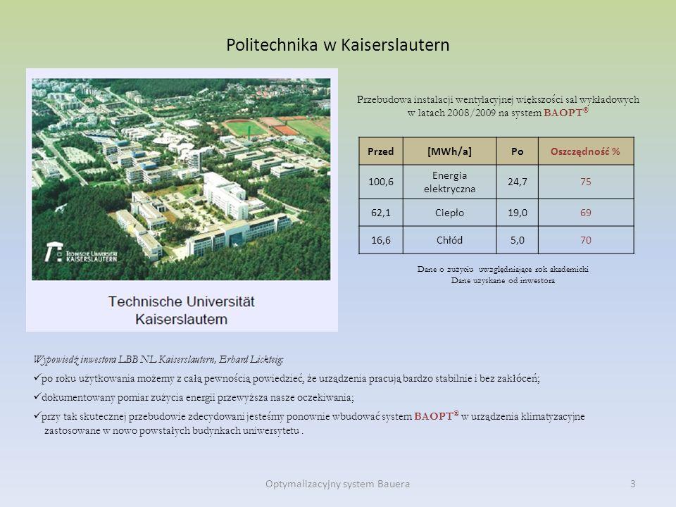 Politechnika w Kaiserslautern Wypowiedź inwestora LBB NL Kaiserslautern, Erhard Lickteig: po roku użytkowania możemy z całą pewnością powiedzieć, że u