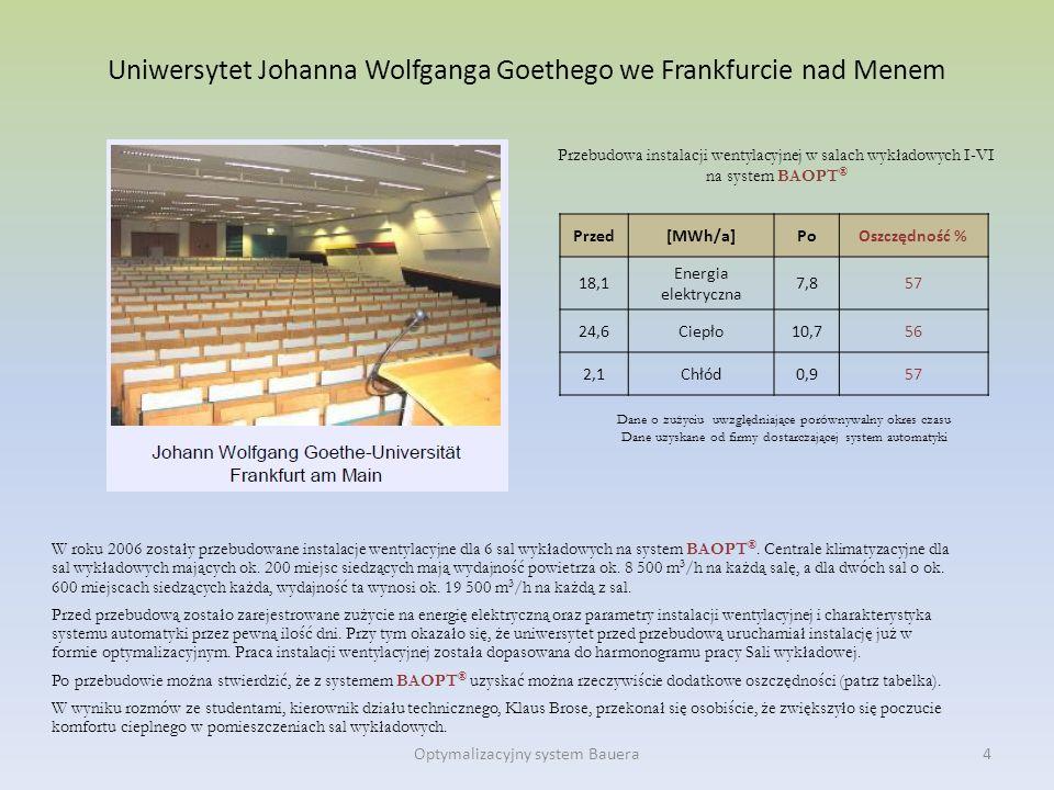 Uniwersytet Johanna Wolfganga Goethego we Frankfurcie nad Menem W roku 2006 zostały przebudowane instalacje wentylacyjne dla 6 sal wykładowych na syst