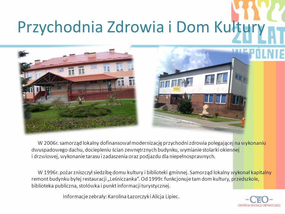 Przychodnia Zdrowia i Dom Kultury W 2006r. samorząd lokalny dofinansował modernizację przychodni zdrowia polegającej na wykonaniu dwuspadowego dachu,