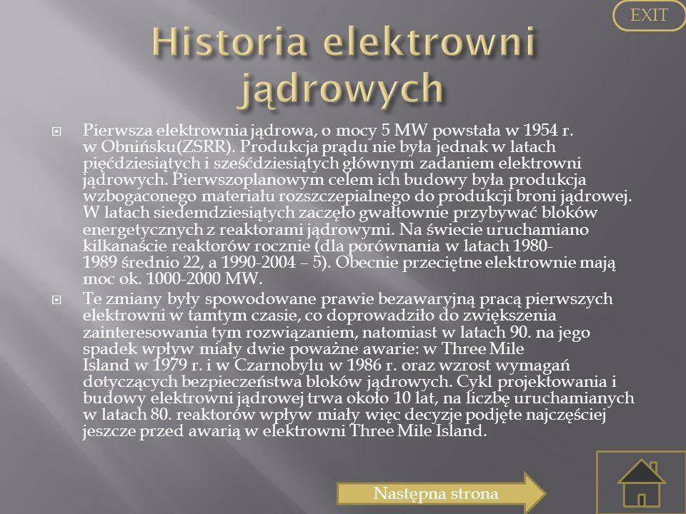 Pierwsza elektrownia jądrowa, o mocy 5 MW powstała w 1954 r. w Obnińsku(ZSRR). Produkcja prądu nie była jednak w latach pięćdziesiątych i sześćdziesią