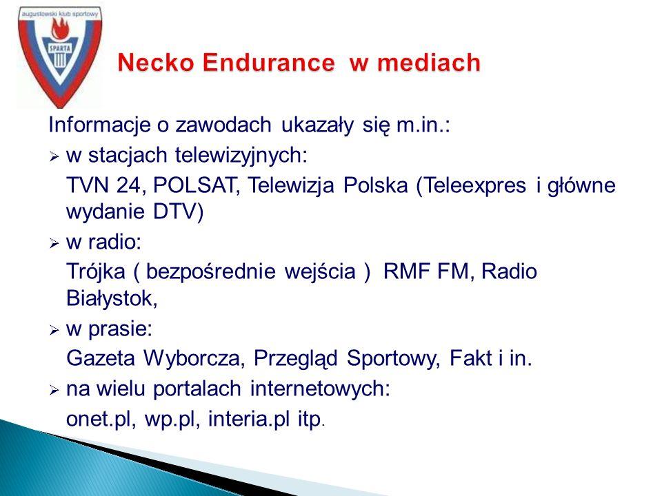 Informacje o zawodach ukazały się m.in.: w stacjach telewizyjnych: TVN 24, POLSAT, Telewizja Polska (Teleexpres i główne wydanie DTV) w radio: Trójka ( bezpośrednie wejścia ) RMF FM, Radio Białystok, w prasie: Gazeta Wyborcza, Przegląd Sportowy, Fakt i in.