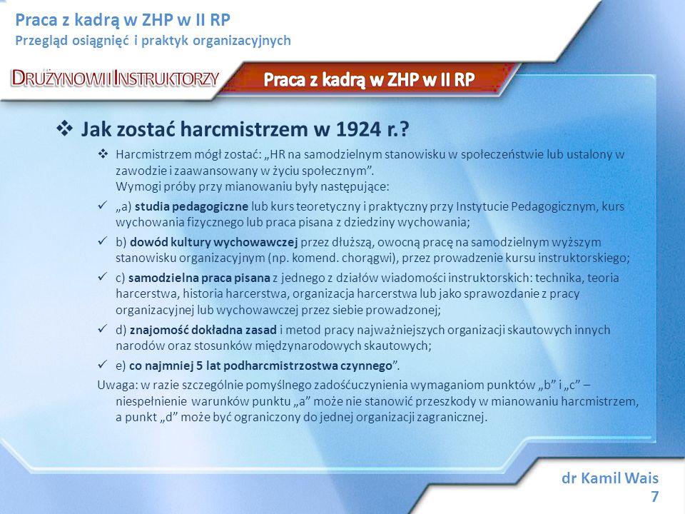 dr Kamil Wais 28 Praca z kadrą w ZHP w II RP Przegląd osiągnięć i praktyk organizacyjnych