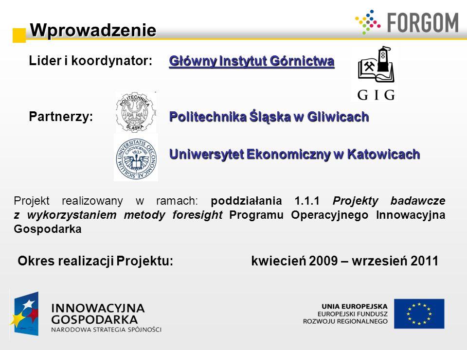 Projekt realizowany w ramach: poddziałania 1.1.1 Projekty badawcze z wykorzystaniem metody foresight Programu Operacyjnego Innowacyjna Gospodarka Okre