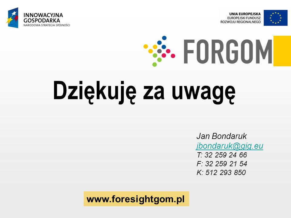 Jan Bondaruk jbondaruk@gig.eu T: 32 259 24 66 F: 32 259 21 54 K: 512 293 850 Dziękuję za uwagę