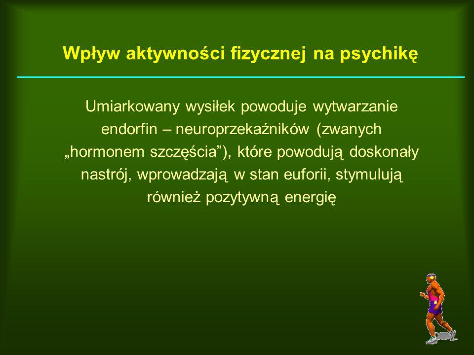 Wpływ aktywności fizycznej na psychikę Umiarkowany wysiłek powoduje wytwarzanie endorfin – neuroprzekaźników (zwanych hormonem szczęścia), które powod