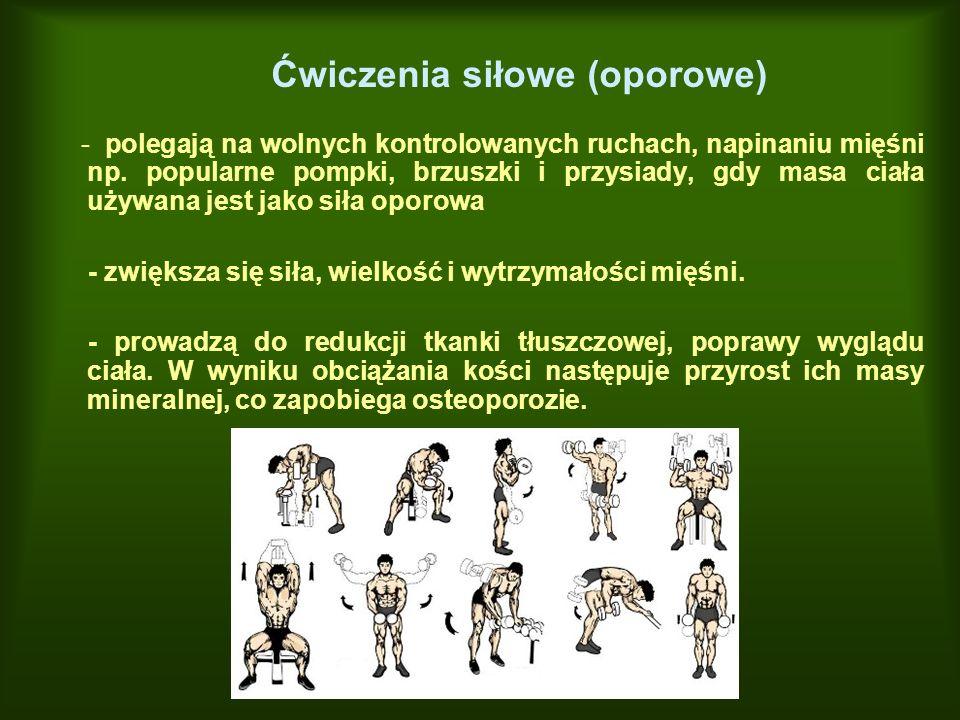 Ćwiczenia siłowe (oporowe) - polegają na wolnych kontrolowanych ruchach, napinaniu mięśni np. popularne pompki, brzuszki i przysiady, gdy masa ciała u