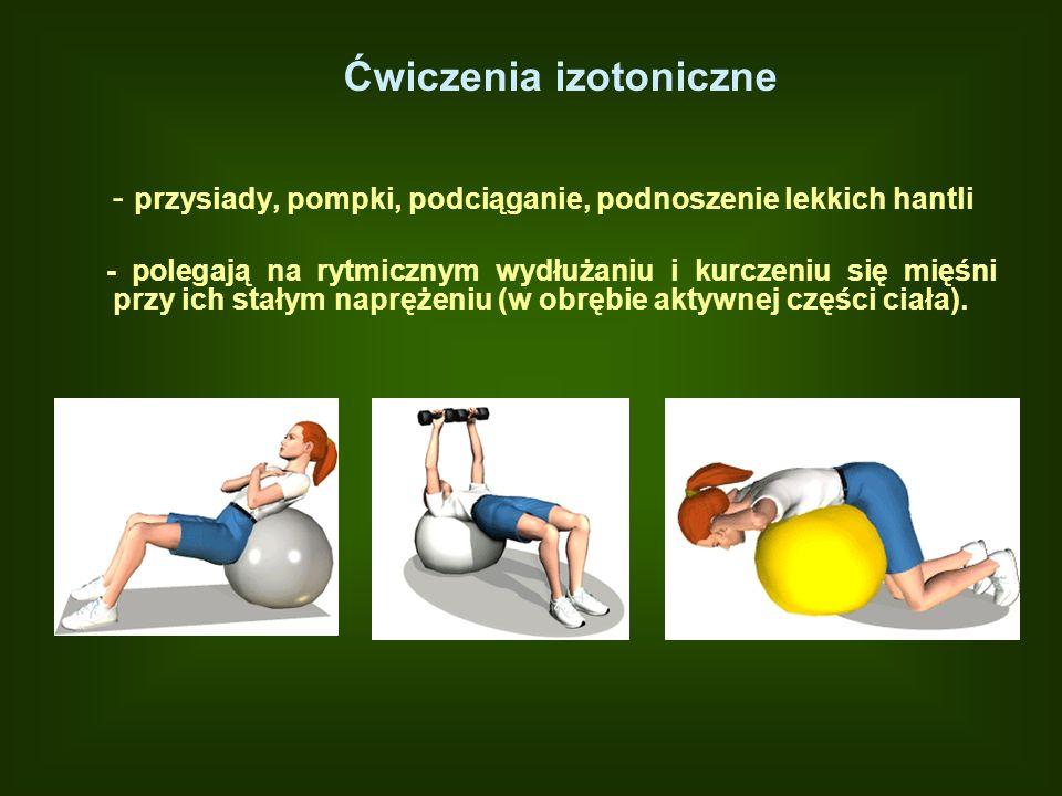Ćwiczenia izotoniczne - przysiady, pompki, podciąganie, podnoszenie lekkich hantli - polegają na rytmicznym wydłużaniu i kurczeniu się mięśni przy ich