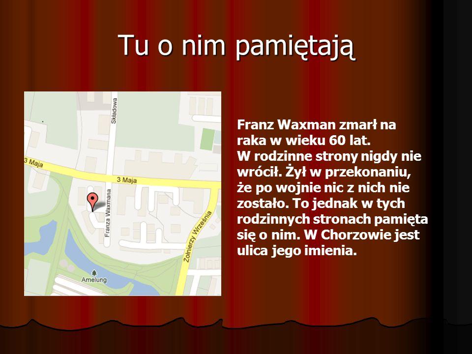 Tu o nim pamiętają Franz Waxman zmarł na raka w wieku 60 lat. W rodzinne strony nigdy nie wrócił. Żył w przekonaniu, że po wojnie nic z nich nie zosta