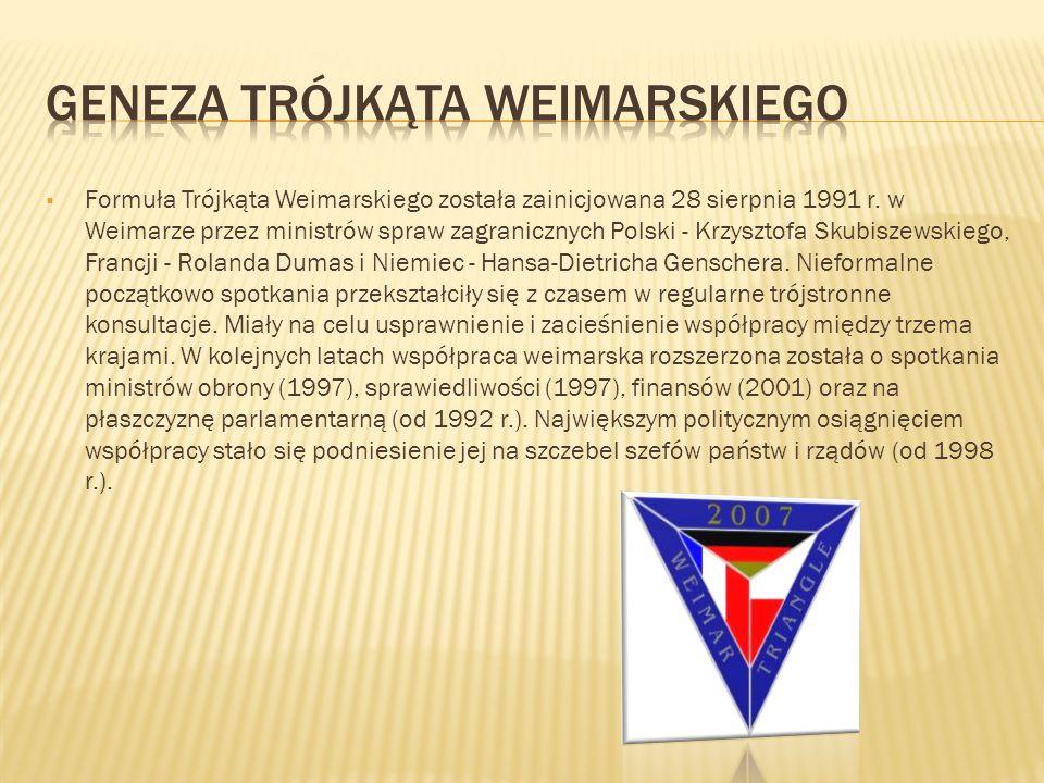 Formuła Trójkąta Weimarskiego została zainicjowana 28 sierpnia 1991 r. w Weimarze przez ministrów spraw zagranicznych Polski - Krzysztofa Skubiszewski