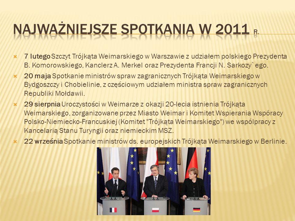 7 lutego Szczyt Trójkąta Weimarskiego w Warszawie z udziałem polskiego Prezydenta B. Komorowskiego, Kanclerz A. Merkel oraz Prezydenta Francji N. Sark