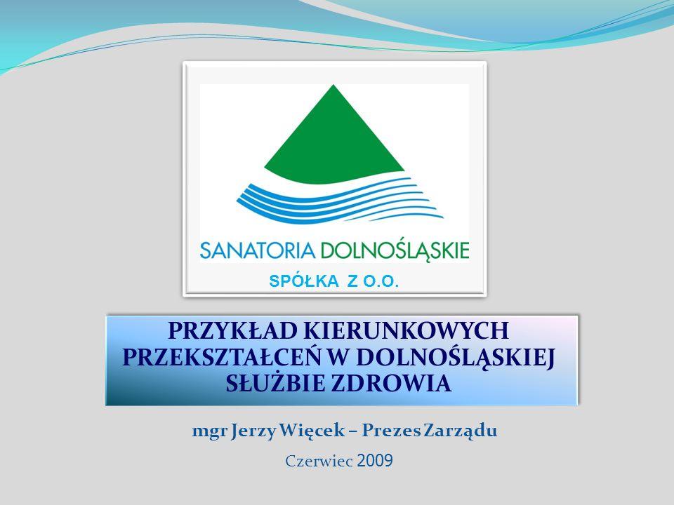 PRZYKŁAD KIERUNKOWYCH PRZEKSZTAŁCEŃ W DOLNOŚLĄSKIEJ SŁUŻBIE ZDROWIA SPÓŁKA Z O.O. Czerwiec 2009 mgr Jerzy Więcek – Prezes Zarządu