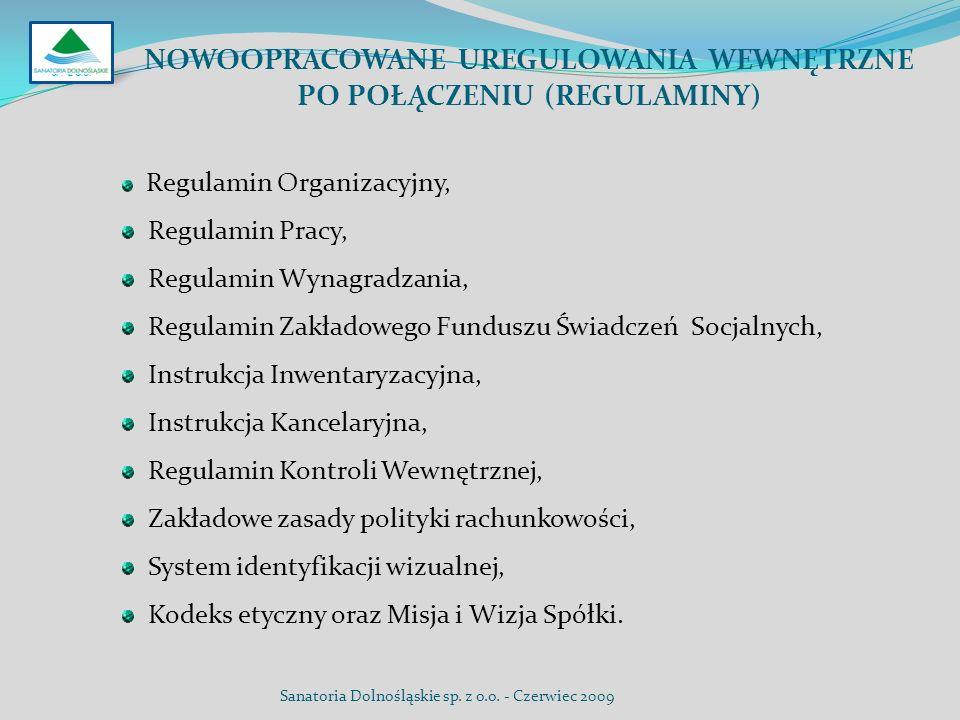 NOWOOPRACOWANE UREGULOWANIA WEWNĘTRZNE PO POŁĄCZENIU (REGULAMINY) Regulamin Organizacyjny, Regulamin Pracy, Regulamin Wynagradzania, Regulamin Zakłado
