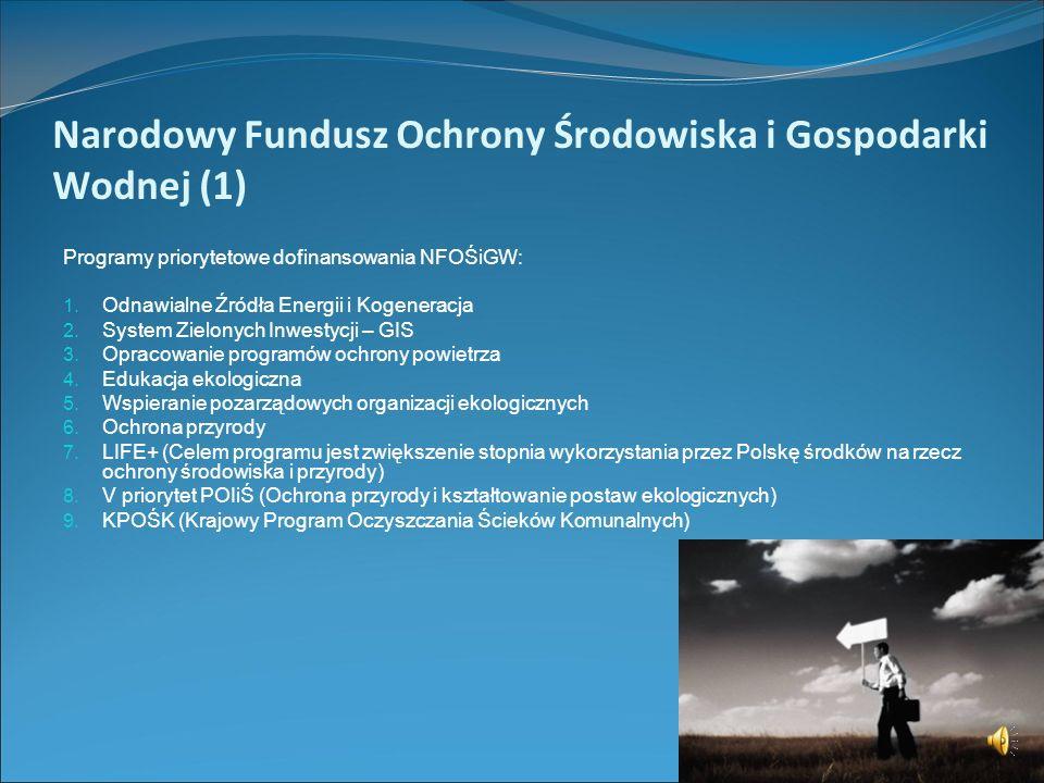 Możliwości dofinansowań przedsięwzięć proekologicznych ze środków krajowych