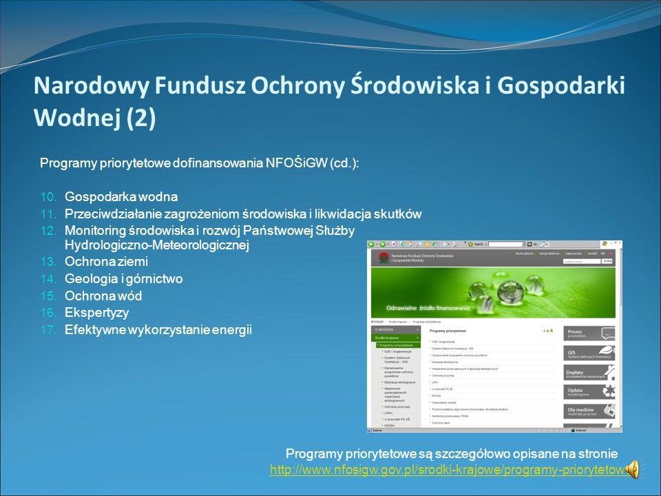 Narodowy Fundusz Ochrony Środowiska i Gospodarki Wodnej (1) Programy priorytetowe dofinansowania NFOŚiGW: 1. Odnawialne Źródła Energii i Kogeneracja 2