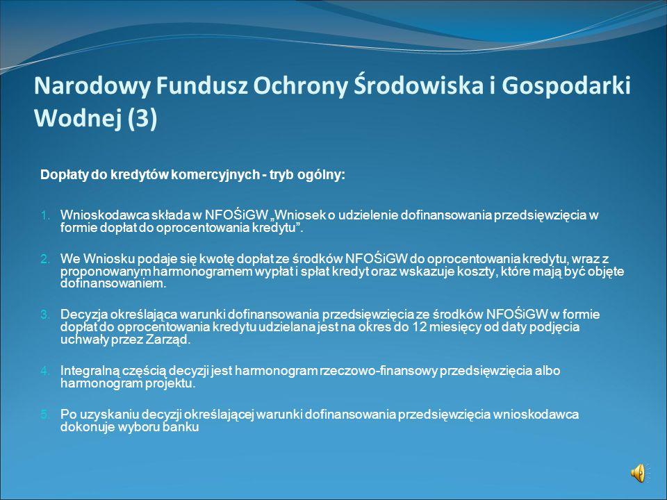 Narodowy Fundusz Ochrony Środowiska i Gospodarki Wodnej (2) Programy priorytetowe dofinansowania NFOŚiGW (cd.): 10. Gospodarka wodna 11. Przeciwdziała