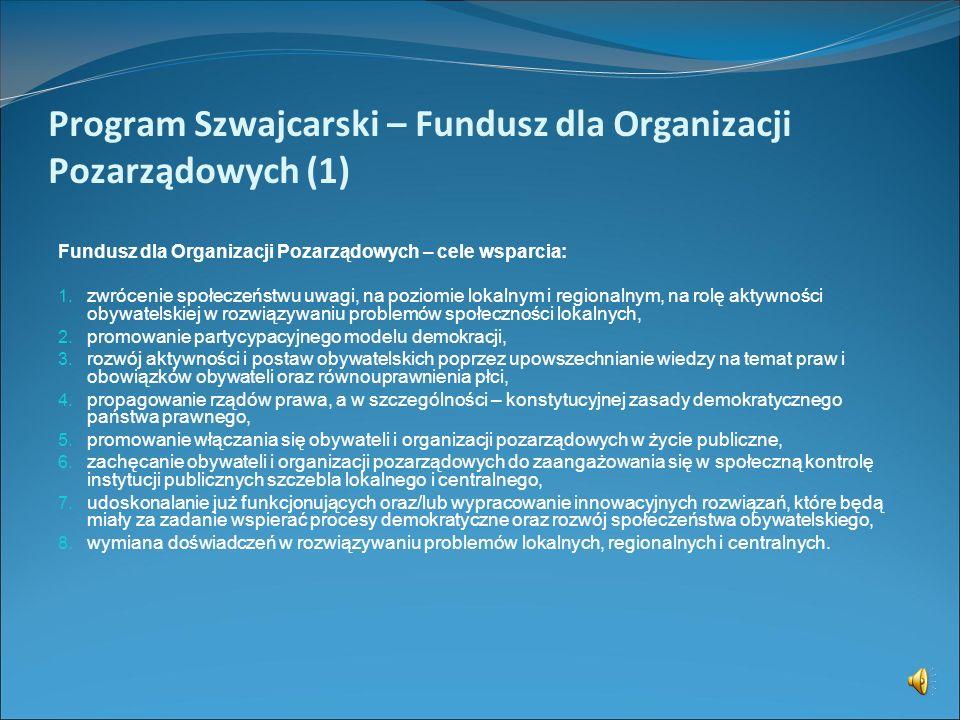 Program Szwajcarski Fundusz dla Organizacji Pozarządowych Fundusz Partnerski www.programszwajcarski.gov.pl www.swissgrant.pl Punkt Informacyjny Szwajc