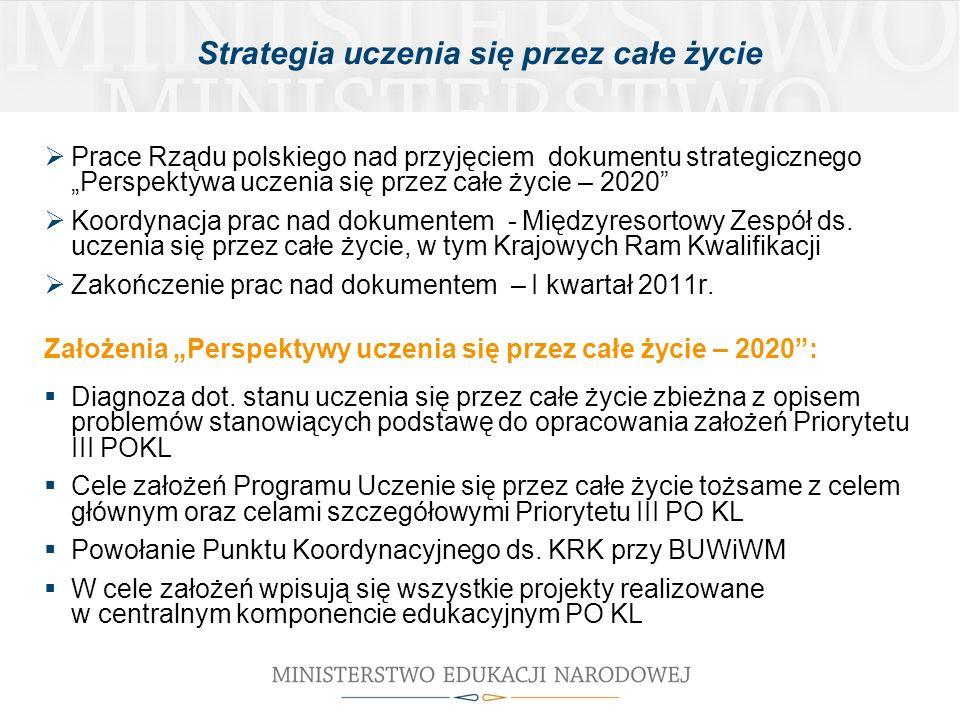 Strategia uczenia się przez całe życie Prace Rządu polskiego nad przyjęciem dokumentu strategicznego Perspektywa uczenia się przez całe życie – 2020 Koordynacja prac nad dokumentem - Międzyresortowy Zespół ds.