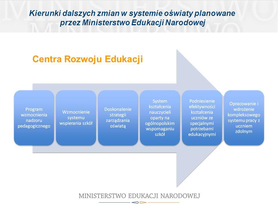 Centra Rozwoju Edukacji Kierunki dalszych zmian w systemie oświaty planowane przez Ministerstwo Edukacji Narodowej