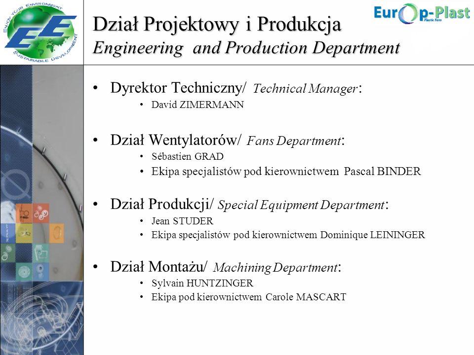 Dział Projektowy i Produkcja Engineering and Production Department Dyrektor Techniczny/ Technical Manager : David ZIMERMANN Dział Wentylatorów/ Fans D