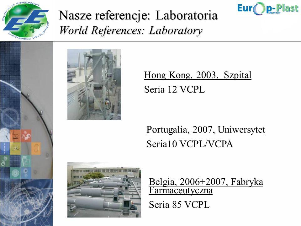 Nasze referencje: Laboratoria World References: Laboratory Hong Kong, 2003, Szpital Seria 12 VCPL Portugalia, 2007, Uniwersytet Seria10 VCPL/VCPA Belg