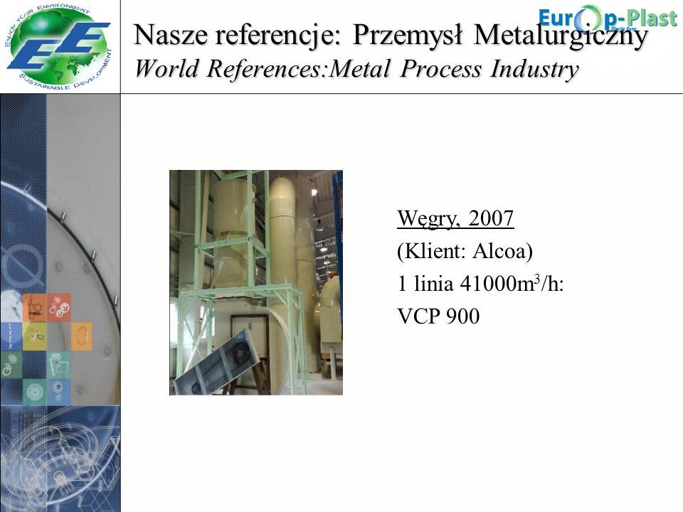 Nasze referencje: Przemysł Metalurgiczny World References:Metal Process Industry Węgry, 2007 (Klient: Alcoa) 1 linia 41000m 3 /h: VCP 900