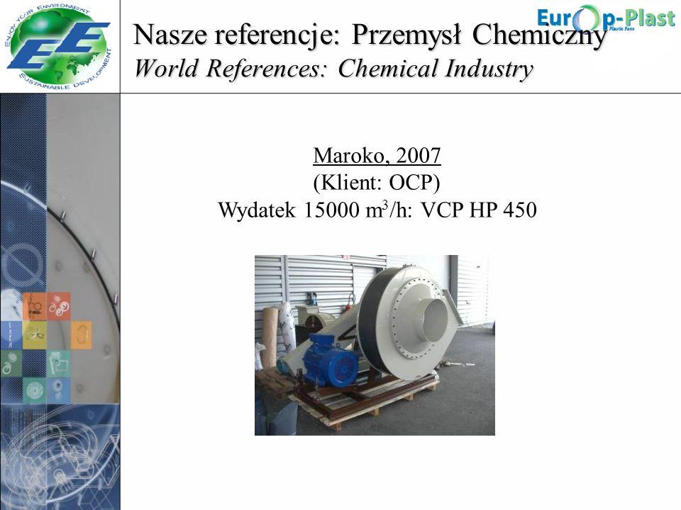 Nasze referencje: Przemysł Chemiczny World References: Chemical Industry Maroko, 2007 (Klient: OCP) Wydatek 15000 m 3 /h: VCP HP 450