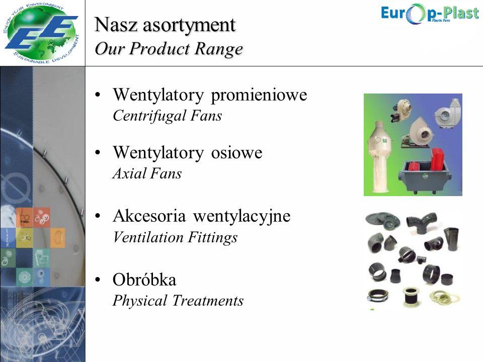 Nasz asortyment Our Product Range Wentylatory promieniowe Centrifugal Fans Wentylatory osiowe Axial Fans Akcesoria wentylacyjne Ventilation Fittings O