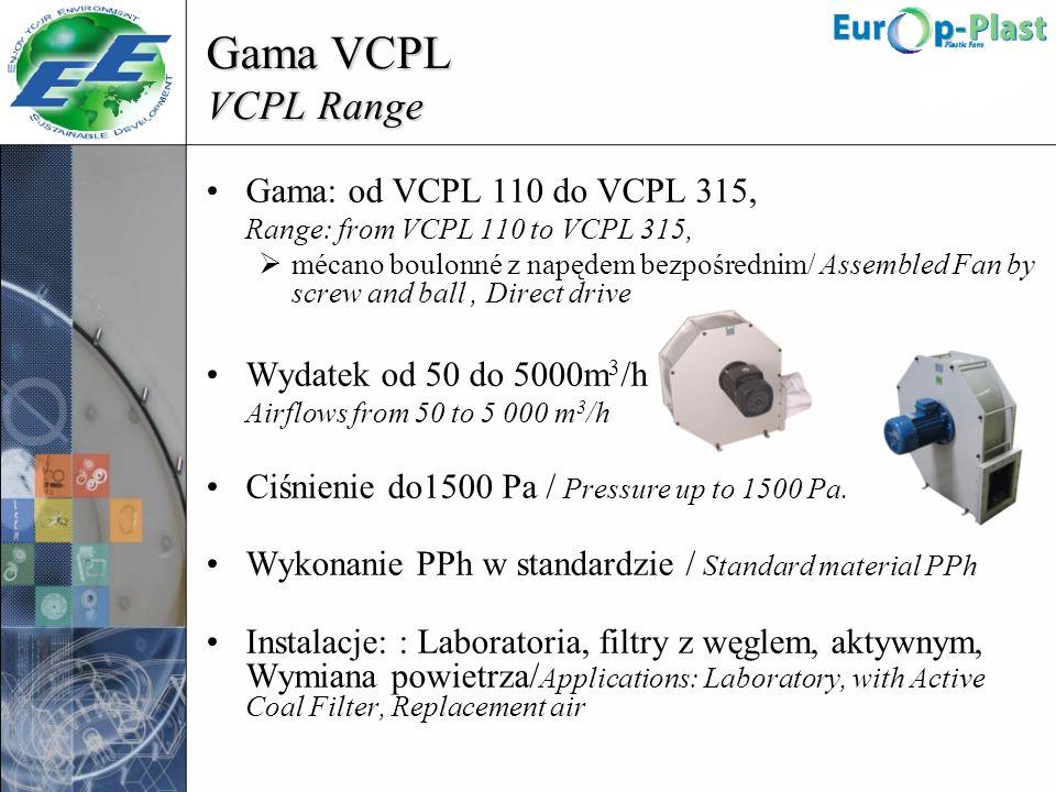 Gama VCPL VCPL Range Gama: od VCPL 110 do VCPL 315, Range: from VCPL 110 to VCPL 315, mécano boulonné z napędem bezpośrednim/ Assembled Fan by screw a