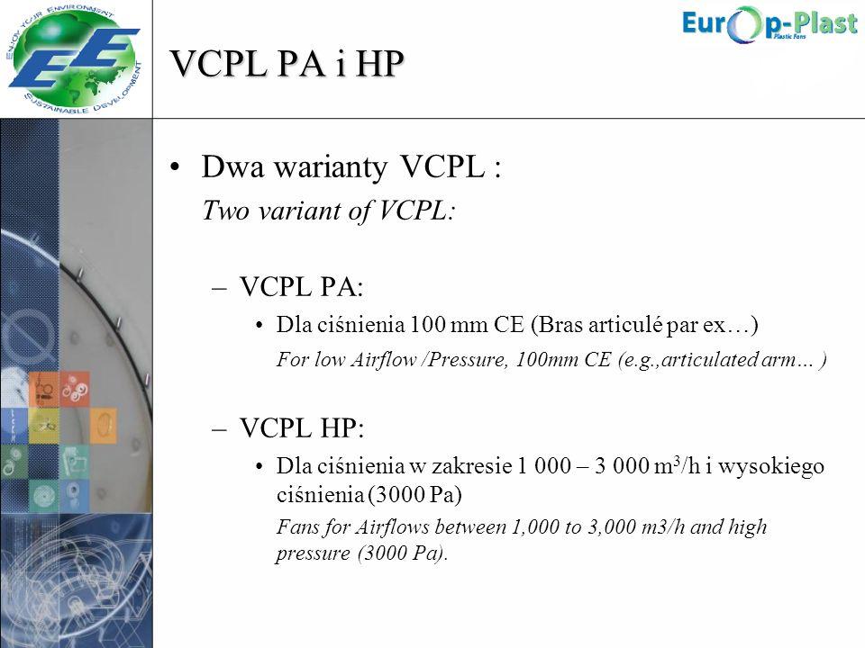 VCPL PA i HP Dwa warianty VCPL : Two variant of VCPL: –VCPL PA: Dla ciśnienia 100 mm CE (Bras articulé par ex…) For low Airflow /Pressure, 100mm CE (e