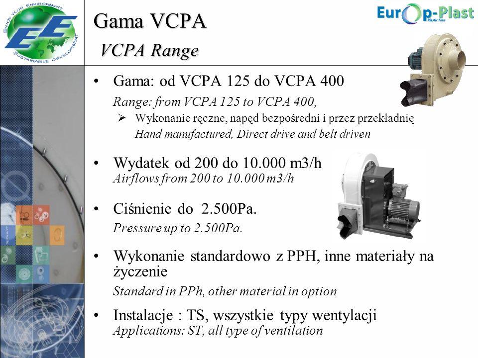 Gama VCPA VCPA Range Gama: od VCPA 125 do VCPA 400 Range: from VCPA 125 to VCPA 400, Wykonanie ręczne, napęd bezpośredni i przez przekładnię Hand manu