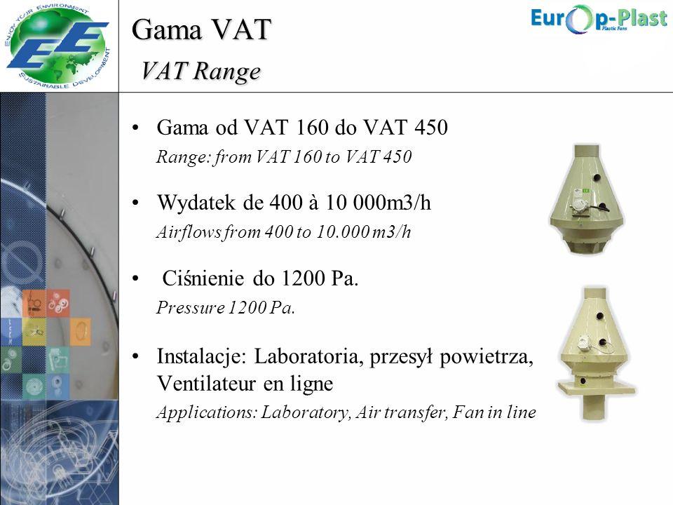 Gama VAT VAT Range Gama od VAT 160 do VAT 450 Range: from VAT 160 to VAT 450 Wydatek de 400 à 10 000m3/h Airflows from 400 to 10.000 m3/h Ciśnienie do