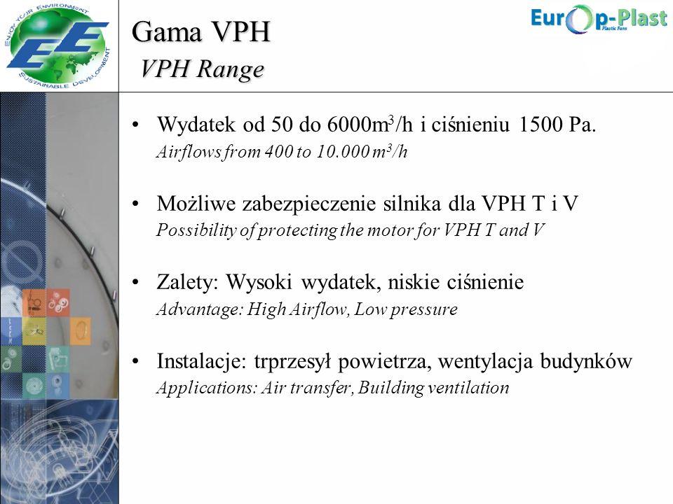 Gama VPH VPH Range Wydatek od 50 do 6000m 3 /h i ciśnieniu 1500 Pa. Airflows from 400 to 10.000 m 3 /h Możliwe zabezpieczenie silnika dla VPH T i V Po