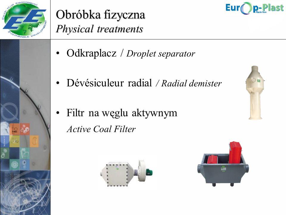 Obróbka fizyczna Physical treatments Odkraplacz / Droplet separator Dévésiculeur radial / Radial demister Filtr na węglu aktywnym Active Coal Filter